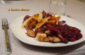 Huhn mit Cranberry, Port, Zimt Sauce serviert mit Ofen gebratene Pastinaken, rote Zwiebel & Süßkartoffel Pommes frites serviert