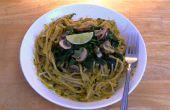 Grünem Thai-Curry Pesto Spaghetti - vegane & glutenfreie