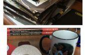 Kosmetikspiegel und Kaffee Tasse Untersetzer aus alten Festplatten