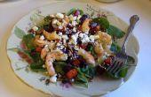 Geröstete Rüben, Süßkartoffel, Mixed Greens und Shrimps-Salat