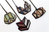 Laser schneiden Halsketten aus recycelten lamellenförmig angeordneten Proben