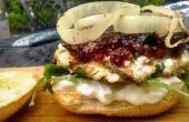 Griechisches Huhn Burger mit ein Heidelbeer-Kompott