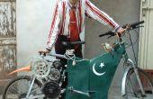 Arme-Leute Elektro-Bike von Recycling-Materialien von Schrottplätzen gemacht.
