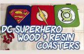 DC-Superhelden-Holz & Harz Untersetzer