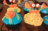 Wie man Strand unter dem Motto Cupcakes mit Krabben und Schildkröte Dekorationen machen
