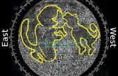 Suche nach Nordrichtung und die Zeit mit dem Mond p3-Mond Oberflächeneigenschaften