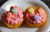 Valentine Herz Form Cupcake mit A Kiss