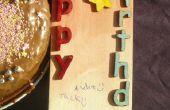 Übertragung Bild auf Holz zu einem rustikalen Geburtstagskarte