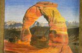 Arches Nationalpark farbige Bleistiftzeichnung