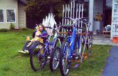 Fahrrad-Rack aus alte Skier und Skistöcke