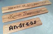 Laser schneiden Holz Namensschild