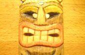 Eine Miniatur-Tiki-Maske zu schnitzen und färbt sie billig und umweltfreundlich
