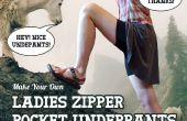 Damen Reißverschluss Tasche Unterhose