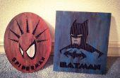 Laser geätzt Spiderman & Batman Karton Kunst