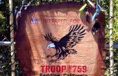 Handgemachte Pfadfinder Truppe Flag - Leder & Holz