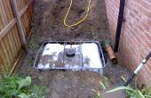 Unterirdische Regenwasser-Speicher in einer IBC mit gepumpten Versorgung