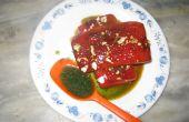 Wassermelone-Steak mit Kerbel Ananas und Minze-Sauce