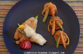 Cajun Fischbrötchen mit Gemüse-Sticks und gebratene Zucchini-Blüten