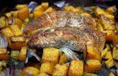 Ofen gebraten Lachs auf einem Bett aus Gemüse mit Quinoa!