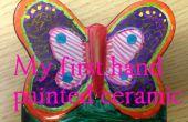 Kinder bauen - Hand Färbung einen Keramik Schmetterling