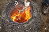 Muschel Kalk in einem primitiven Stroh/Lehm Ofen zu verbrennen!