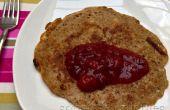 Vegan Vollkorn Hafer Dinkel Pfannkuchen mit würzigen Pflaumen Kompott