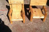 Rustikale Log Kinder Stuhl aus zurückgefordert Holz