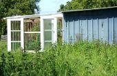 DIY-Veranda-Stil Gewächshaus, Sunspace, frisch gezapftes Lobby aus zurückgewonnene Fenster aus Holz und Glas gefertigt. Serre Véranda. Bricolaje Ecologico - Terraza Invernadero
