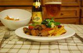 Langsam belgisches Bier Kaninchen Eintopf gekocht