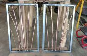 Kupfer und Messing Bambus in Stahl Rahmen Wandbehang Skulptur