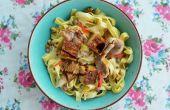 Nudeln mit Champignons und geräuchertem Tofu