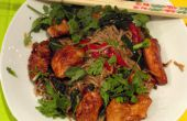 Ein schönes Wok-Abendessen mit mariniertes Huhn & 2 Gemüse aus unserem Garten