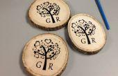 DIY Siebdruck auf Holz Untersetzer für Hochzeitsgeschenk