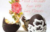 Gefüllte Schokoladeneier mit Spitzen Blumen