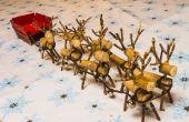Miniatur aus Holz Rentier und Schlitten