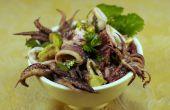 Tintenfisch-Salat mit Avocado und Blutorange