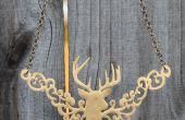 Goldene Hirsch Kopf Trophy filigrane Halskette!