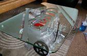 VW Motor Tisch mit Lichtern und geätztem Glas