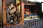 Indoor Brennholz Rack mit rohem Holz hergestellt