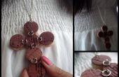 Wein-gebeizt-Kork Kreuz Halskette