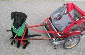 DIY Hund ziehen Wagen aus einen Klapp-Fahrrad-Anhänger gemacht.