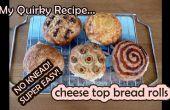 Super einfach No-kneten Käse Brötchen- und andere Toppings