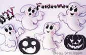 4 Geister schaumig oder EVA für Halloween | DIY |---4 Fantasmas de Foamy o Goma Eva Para Halloween | DIY |