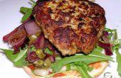 Eifreie Schweinefleisch & Kalbfleisch Burger mit Balsamico rote Zwiebel & Kapern lustvoll!