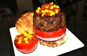 Die molekulare Burger w / Ketchup und Senf Kaviar