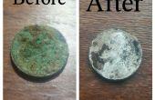 Entfernen von Korrosion auf alten Münzen / kleine Metall-Objekte