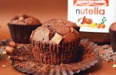 Nutella Chocolate Chip Muffins mit Nutella Trüffel im Zentrum