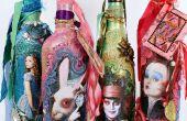 Alice durch die Spiegel-Mixed-Media-Flaschen