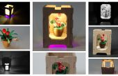 Quilled Miniatur Blumentopf mit Holzkiste - Lampenschirm bei Nacht