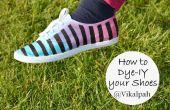 Wende deine weiße Leinenschuhe in bunten Triple getönten gestreifte Schuhe mit Farbstoff